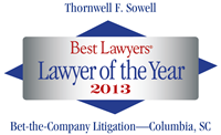 Best Lawyers Lawyer of the Year - Biff Sowell 2013